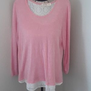 Faded Glory XXL PINK LIGHT KNIT PULLOVER SWEATER